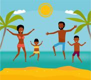 Happy family jumping together on the beach. Cartoon vector illustration. Sea tour. African american family. Flat cartoon. Happy family jumping together on the Stock Images