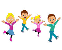 Happy family jumping together with hands up Royalty Free Stock Photography