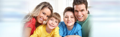Happy family with kids Stock Images