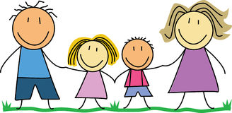 Happy family - Kids drawing /illustration Royalty Free Stock Photography