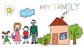 Happy family with kids, house, children hand drawing style, doodle. Stock Photography
