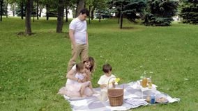 Happy family with kids resting on the grass during a picnic. Happiness and harmony in family life. Happy family with kids resting on the grass during a picnic stock video footage
