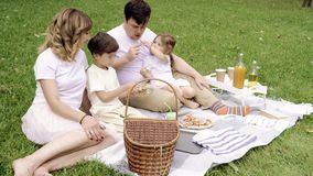 Happy family with kids resting on the grass during a picnic. Happy family with kids resting on the grass during a picnic stock video footage
