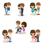Happy family with kids. Vector set of happy family.Pregnant woman and her husband with children Royalty Free Stock Photo