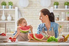 Happy family in the kitchen. royalty free stock image