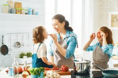 Happy family in the kitchen. Healthy food at home. Happy family in the kitchen. Mother and children daughters are preparing vegetables royalty free stock image