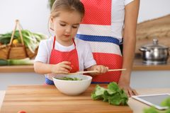 Happy family in the kitchen. Mother and child daughter  cooking tasty breakfest of fresh salad. Little helper slicing an. Happy family in the kitchen. Mother and Stock Photo
