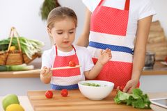 Happy family in the kitchen. Mother and child daughter  cooking tasty breakfest of fresh salad. Little helper slicing an. Happy family in the kitchen. Mother and Royalty Free Stock Images