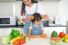 Happy family in the kitchen. Mother and child daughter are preparing the vegetables and fruit royalty free stock photos