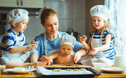 Happy family in kitchen. mother and children preparing dough, ba. Happy family in the kitchen. mother and  children preparing the dough, bake cookies Stock Image