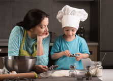 Happy family in the kitchen. Stock Images