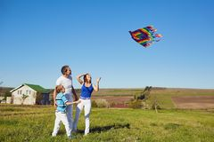 Happy family with a kite playing in the field in nature royalty free stock photography