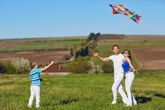 Happy family with a kite playing in the field in nature stock images