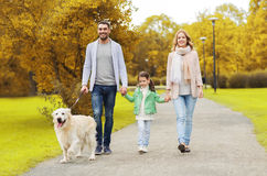 Happy family with labrador retriever dog in park Stock Images