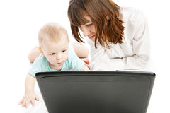 Happy family with laptop Royalty Free Stock Images