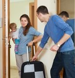 Happy family leaving the home Royalty Free Stock Image
