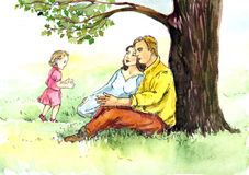 Happy family leisure in nature man; woman and child sitting on grass under oak. Hand painted Watercolor Illustration: Happy family leisure in nature man; woman Royalty Free Stock Images