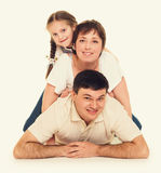Happy family lie, happy concept Royalty Free Stock Photo
