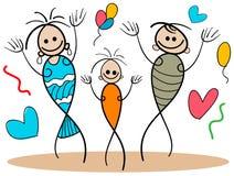 Happy family. Line art funny happy family cartoon image Stock Images