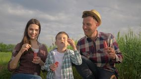 Happy family, little boy with mom and dad blowing soap bubbles during fun leisure on nature in field against sky stock video