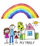 Happy family with little children. Mother and father with kids. Brother and sister with parents. My family with house and rainbow