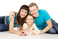 Happy family with a little girl Stock Images
