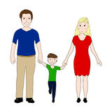 Happy family with little son Mom and Dad. On a white background Stock Images