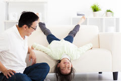 Happy family in living room. Happy asian family in living room Royalty Free Stock Photos