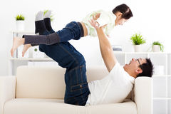 Happy family in living room royalty free stock photo
