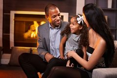 Happy family in living room Royalty Free Stock Photography