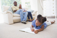 Happy family in the living room Royalty Free Stock Photography