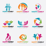 Happy Family logo vector illustration set design Royalty Free Stock Photo