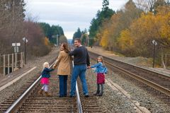 Happy Family Looking Back royalty free stock images