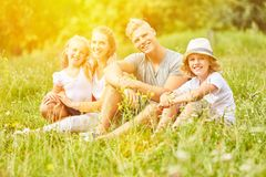 Happy family is looking for relaxation on vacation stock image