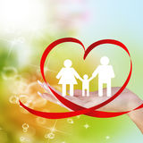 Happy Family.Love. Valentines Day.Woman Hand with Red Silk Valentine Heart Royalty Free Stock Images