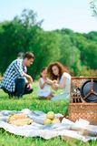 Happy family on a lunch in the park Stock Image