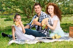 Happy family on a lunch in the park Royalty Free Stock Image