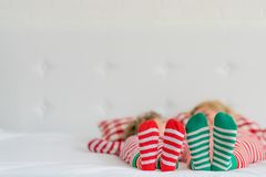 Happy family in Christmas eve Royalty Free Stock Photo