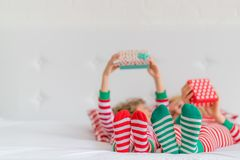 Happy family in Christmas eve Royalty Free Stock Images