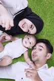Happy family lying on green grass Royalty Free Stock Image