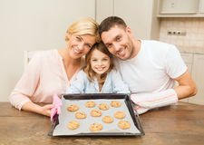 Happy family making cookies at home Royalty Free Stock Photo