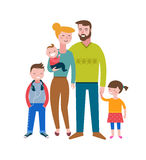 Happy family, making fun, couple with kids. Vector illustration Royalty Free Stock Photos