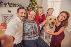 Happy family making selfie on holiday royalty free stock photo