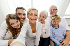 Happy family making selfie at home Stock Photography