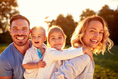 Happy family. With male and female children Royalty Free Stock Image