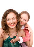 Happy family mam and daughter isolated Royalty Free Stock Photos