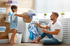 Free Happy Family Man Father Householder And Child In Laundry With Stock Photos - 108122333