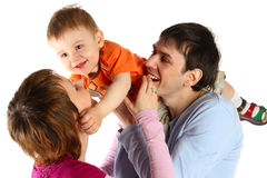 Happy family - man, woman and baby Stock Image