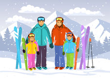 Happy family , Man, woman, boy, girl skiiing in snow mountains Stock Photo