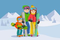 Man, woman, boy, skiing in snow mountain. Family winter sport vector illustration. Stock Photo